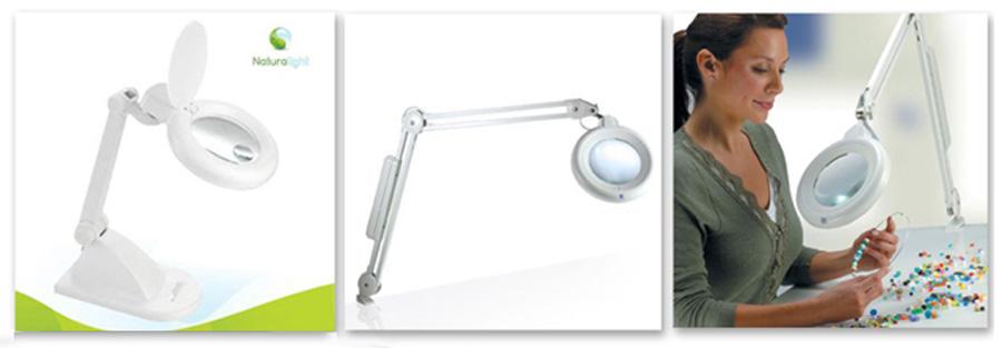 Lámpara de trabajo con lupa y luz incorporadas