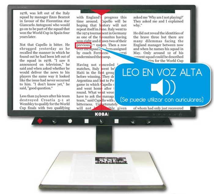 Telelupa o dispositivo magnificador en pantalla para baja visión
